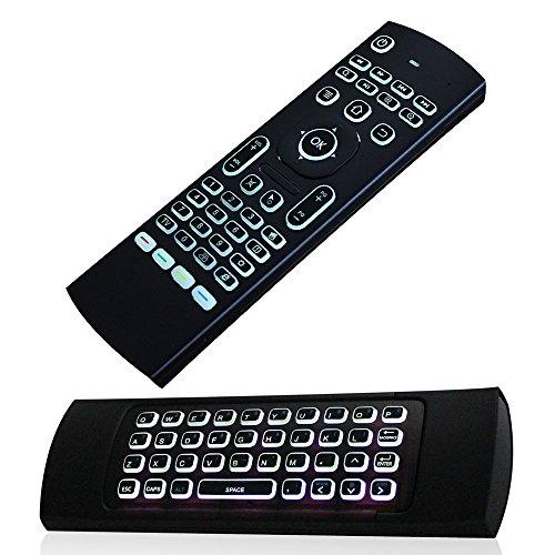 Justop F40rétroéclairé Mini clavier sans fil Air Mouse 3d Fly contrôleur Construit en Gyro capteurs est livré avec Nano récepteur USB Idéal pour Android Kodi Boîtes, Htpcs, Smart TV, Apple TV, Rasberry Pi, portables, Présentation, etc.