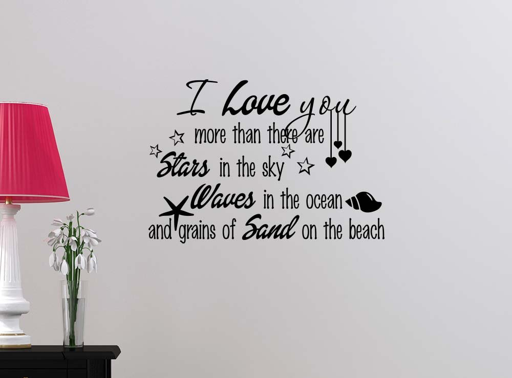 I love you more than there are stars in the sky waves in ocean STARS cute beach sticker nursery vinyl saying lettering wall art inspirational sign wall quote decor
