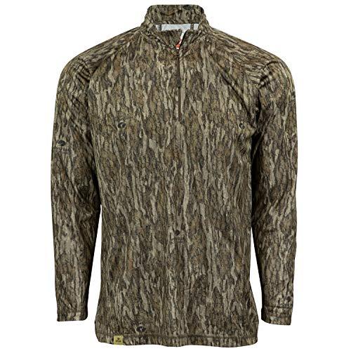 Mossy Oak Men's Camo Lightweight 1/4 Zip Hunting Shirt, Bottomland, XX-Large