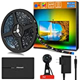LED TV Backlight Kit with Camera,6.23ft Music Led Strip Lights,RGB Smart Light Strip Ambient Bias Lighting,3-Modes with App (Video,Music,Custom),Compatible for Any TV Signal (Not Only HDMI), (40''-55'')