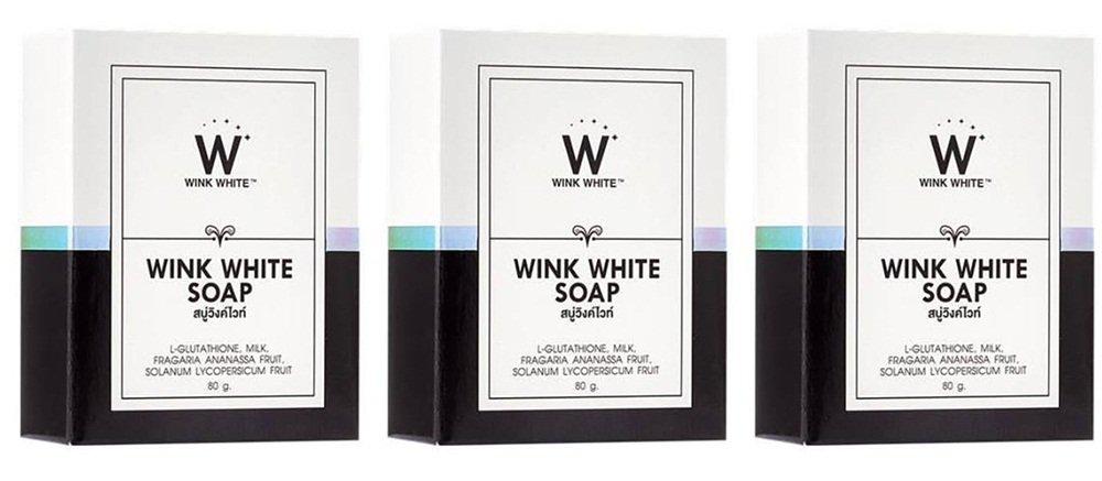3Pack Gluta guiño de jabón Pure White Whitening Body 80gramos Wink White