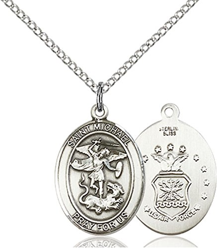 Sterling Silver Saint Michael Air Force Medal Pendant, 3/4 Inch