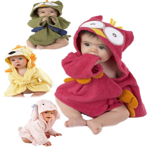 Baby Nighty Pajamas Kids Toddler Animal Cartoon Bathrobe Towel. - Charmeuse Jumpsuit