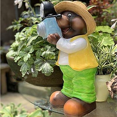 Figura Decorativa para jardín Mapache De Simulación Luces Al Aire Libre Con Energía Solar Estatua De