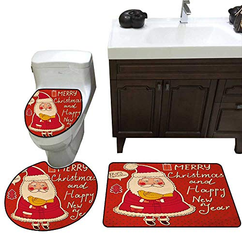 John Taylor Christmas Bath Toilet mat Set Happy Year Retro Illustration with Cute Santa Claus Holding Yellow Bird Toilet Rug and mat Set Ivory Orange