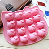 Lvxuan Hello Kitty Cake Mold ,Pudding Mousse Chocolate Cupcake Mold, Silicone Mold for Food or Soap