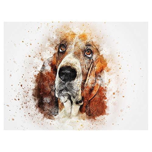 LIPHISFUN DIY 5D Diamond Painting by Number Kit for Adult, Full Round Resin Beads Drill Diamond Embroidery Dotz Kit Home Wall Decor,30x40cm,Basset Hound