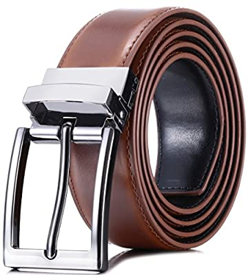"""Marino Reversible Leather Belt For Men - Classic Dress Belt 1.25"""" Wide - With Removable Rotating Buckle"""