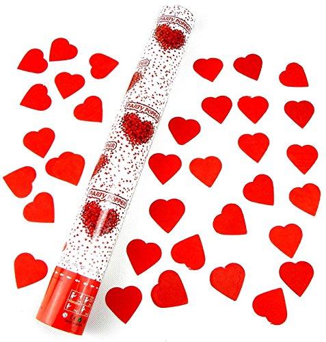 10 Herz Regen 60 cm Konfetti Shooter Jumbo mit roten STAR-LINE® Herzen Party Popper Glänzend Konfettikanone