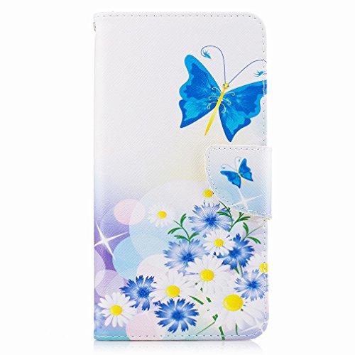 Yiizy LG V20 (H910, H918, LS997, US996) Funda, Blue Butterfly Diseño Solapa Flip Billetera Carcasa Tapa Estuches Premium PU Cuero Cover Cáscara Bumper Protector Slim Piel Shell Case Stand Ranura para