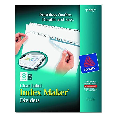 Avery index maker clear label dividers 8 tab 25 sets for Avery 8 tab clear label dividers template
