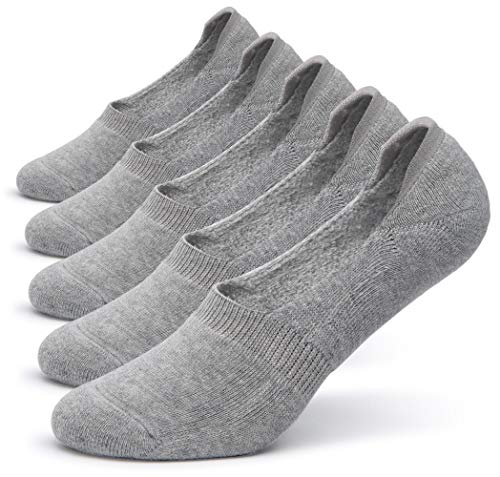 s Thick Cushion Cotton Casual Low Cut Falt Non-Slip No Show Boat Liner Socks (Light Grey) ()