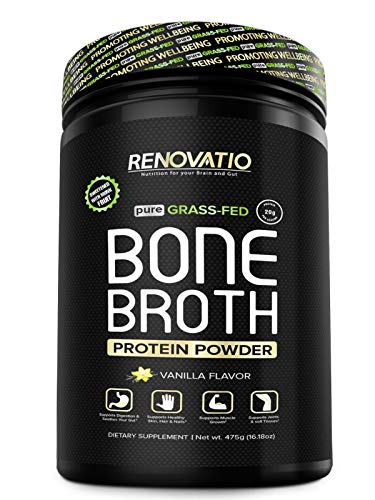 Bone Broth Protein Powder Vanilla - Monk Fruit Sweetened - Vital Collagen Protein - Keto Paleo Suitable. NON GMO Grass Fed Gluten Dairy Soy & Corn Free (16.18oz, 475 grams) (Best Homemade Protein Shakes For Building Muscle)