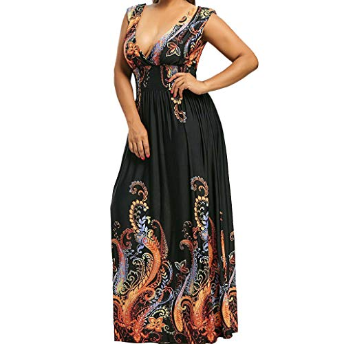 (YKARITIANNA Summer New Fashion Women Summer Sexy Casual Printing Sleeveless V-Neck Long Open Back Dress)