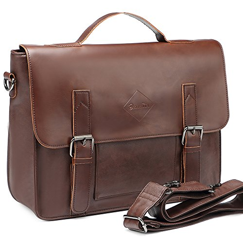 Men Vintage PU Leather Briefcase 15 inch Laptop Shoulder Messenger Bag Tote