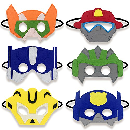 Boy Birthday Party Favors Felt Masks Boy Birthday Gifts for Rescue Bots Party Supplies (6 PCs) ()
