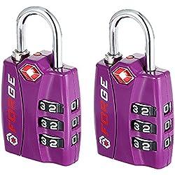 Forge TSA Lock Purple 2 Pack - Open Alert Indicator, Easy Read Dials, Alloy Body