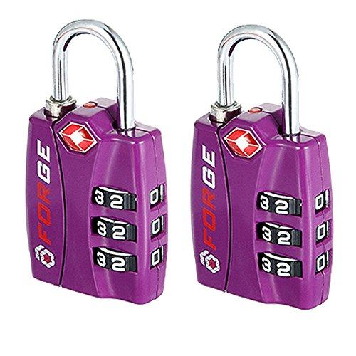 Forge TSA Lock Purple 2 Pack - Open Alert Indicator, Easy Read...