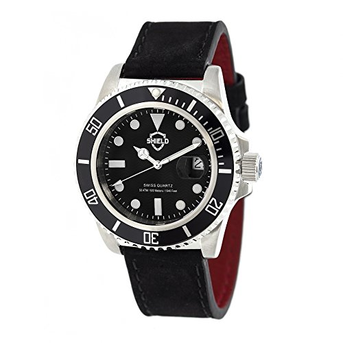 Shield Women's SLDSH0804 Cousteau Pro-Diver Silver/Black/Black Leather Watch