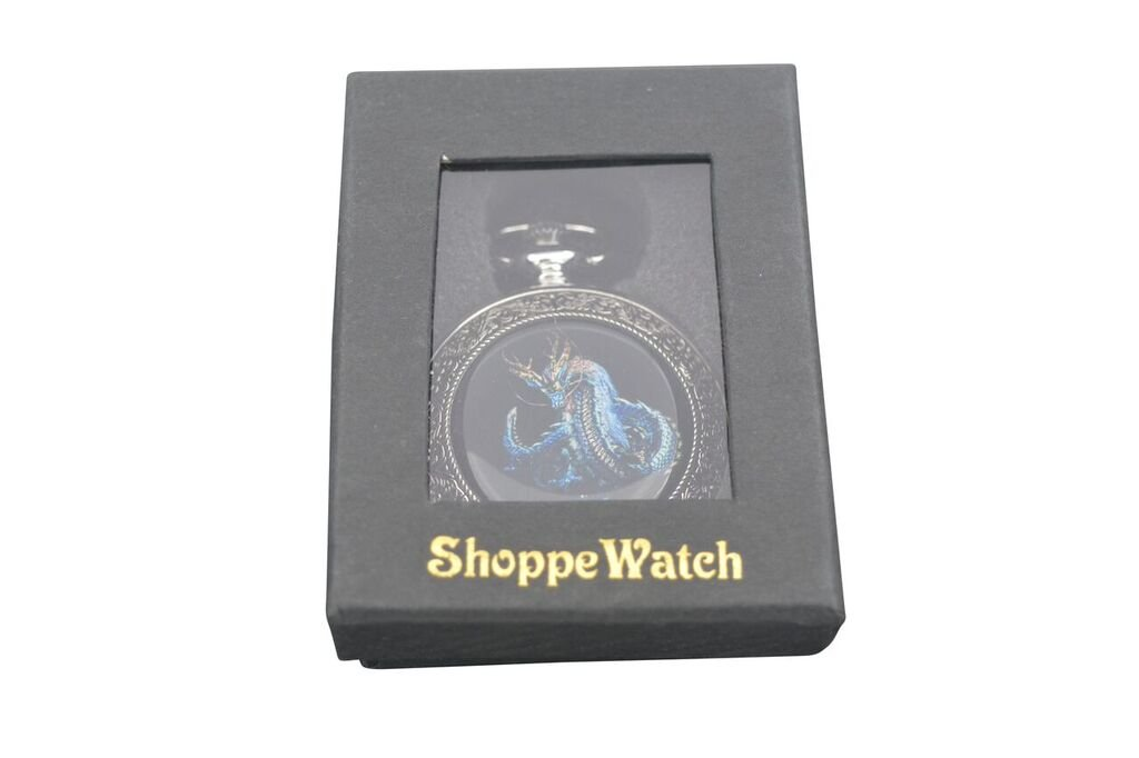 ShoppeWatch Dragon Pocket Watch with Chain Mechanical Hand Wind Up Steampunk Skeleton Dial Silver Tone Case PW-192