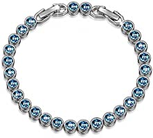 LADY COLOUR Bracelet for Women Ocean Dream white gold plated Tennis Bracelet with blue Swarovski Crystals Birthday Anniversary Wedding Jewellery gifts presents for mother wife daughter girlfriend her