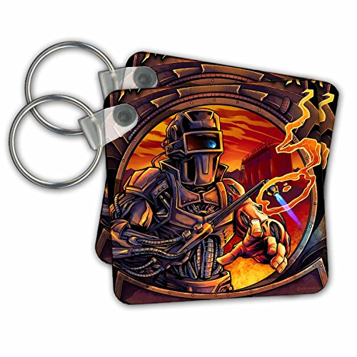 3dRose Welder That is All Machine Using A Welding Tool - Key Chains, 2.25' x 2.25', Set of 2 (kc_252470_1)