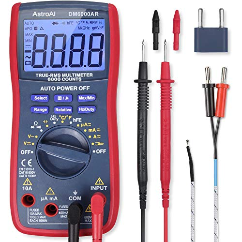 AstroAI Digital Multimeter, TRMS 6000 Counts Volt Meter Manual Auto Ranging; Measures Voltage Tester, Current, Resistance; Tests Diodes, Transistors, Temperature from AstroAI
