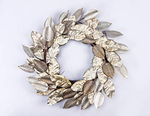 Huashen Champagne Color Magnolia Leaf Christmas Wreath with Frosty & ICY on Twig Base for Door Wedding Home ()