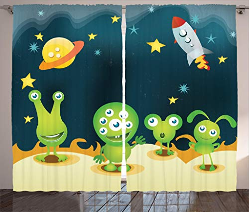 Ambesonne Outer Space Decor Curtains, Aliens on Mars Surface Galaxy Solar System Objects Orbit Rockets Humor Design, Living Room Bedroom Window Drapes 2 Panel Set, 108W X 63L Inches, Multi ()