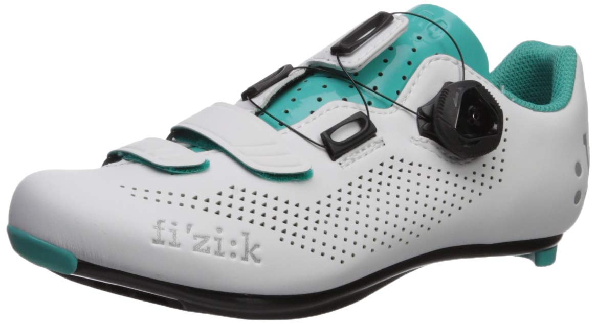 Fizik Women's R4 Donna BOA Road Cycling Shoes, White/Emerald Green, Size 39.5  White/Emerald Green by Fizik