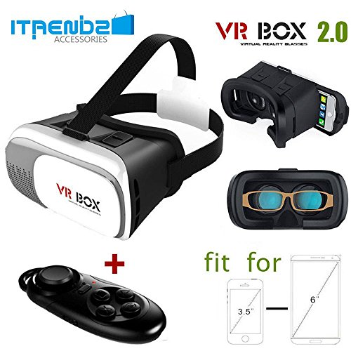 TEKIMBE [Virtual Reality] VR Box 2.0 Google Cardboard 3D VR Virtual Reality Headset Video Movie Game Glasses For iPhone, Samsung, and More [Bluetooth Remote Controller], Black