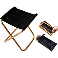 Gold Mini Portable Folding Chair Stool with Pouch for Child, Aluminum Compact Ultralight Fold Stool Seat with a Carry Bag for Garden, Beach, Fishing, Hiking, Camping, Picnic Travel