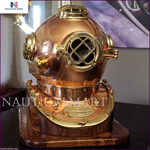 - NAUTICALMART Antique Brass Scuba Diving Divers Helmet US Navy Mark V Solid Brass 18'' w/Base