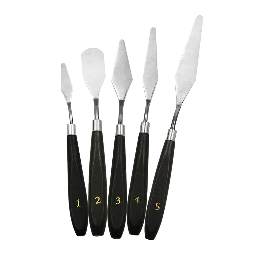 Homyl 5-Piece Painting Scraper Set – Stainless Steel and Wood Palette Scraper Set for Mixing Paints, Thick Paint Applications and More