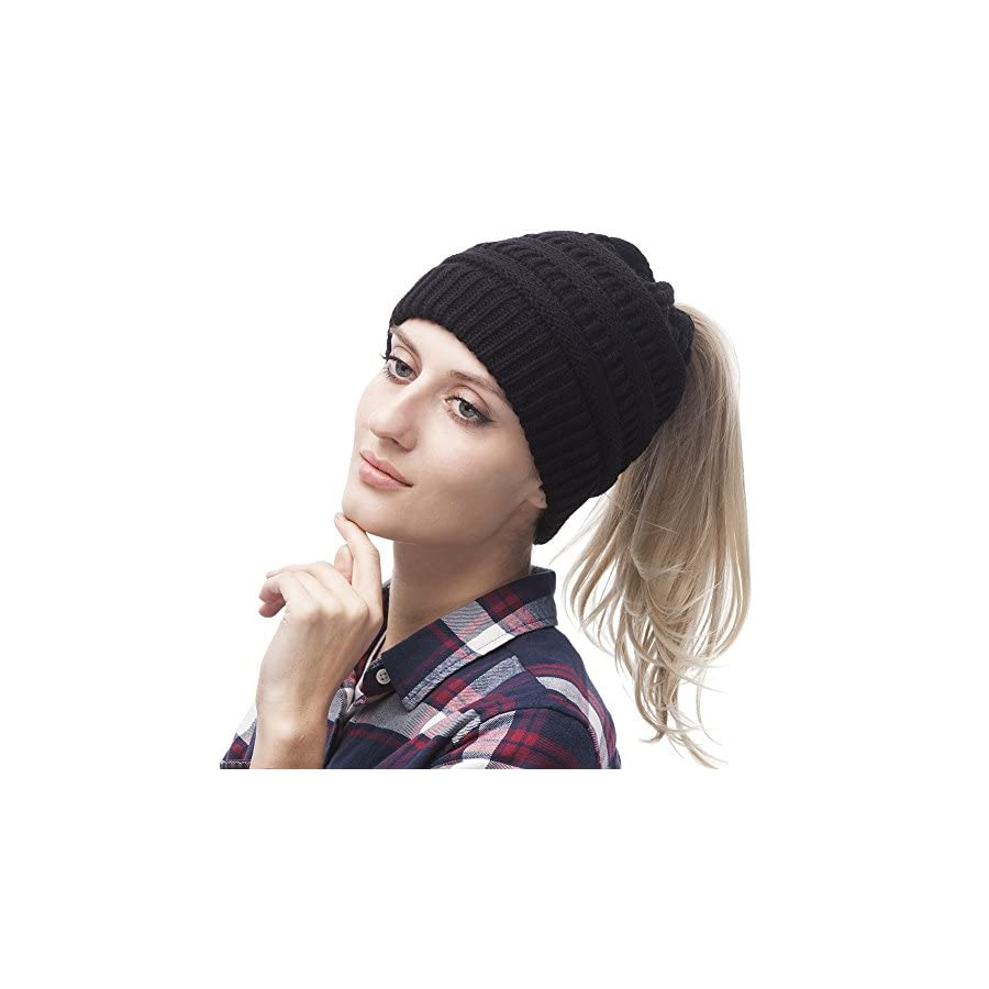 VAMEI Womens Warm Hat Messy Bun Beanie Winter Knit Ponytail Hats for Girls Women