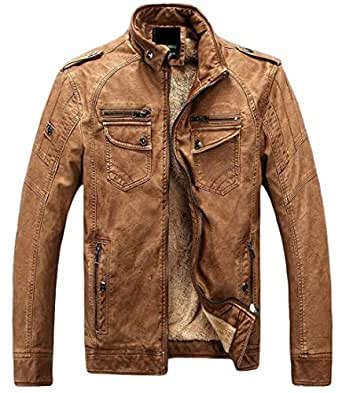 Jaycargogo Mens Fashion Winter Faux Leather Coat Fleece