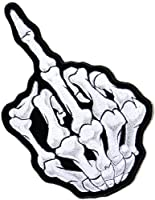 "6.75""x11"" Middle Finger Skull Ghost Skeleton Zombie Biker Rider Hippie Punk Rock Heavy Metal Tatoo Jacket T-shirt Patch Sew Iron on Embroidered Sign Badge"