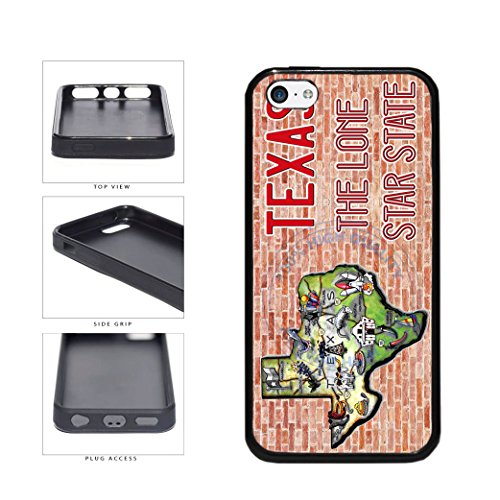 BleuReign(TM) Detailed Texas Map on Brick Background TPU RUBBER SILICONE Phone Case Back Cover For Apple iPhone 5c
