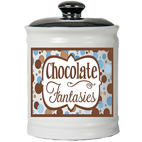 - Cottage Creek - Chocolate Fantasies - Round White Ceramic Jar with Black Lid - Piggy Bank - Gifts for Women - Chocolate Gifts