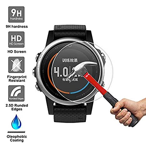 Tempered Glass Screen Protector Film HD Clear Anti-Bubble Compatible with Garmin Fenix 5//5S//5X Lyperkin 2-Pack Garmin Fenix 5//5S//5X Screen Protector Explosion-Proof LCD TPU Full Cover 9H