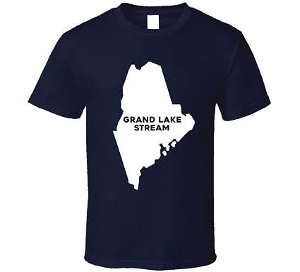 Grand Lake Stream Maine Map.Amazon Com Grand Lake Stream Maine City Map Usa Pride T Shirt Clothing