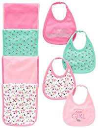 Simple Joys by Carter's Baby Girls' 8-Pack Burp Cloth and Bib Set, Floral/Elephant, One Size BOBEBE Online Baby Store From New York to Miami and Los Angeles