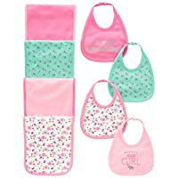 Simple Joys by Carter's Baby Girls' 8-Pack Burp Cloth and Bib Set, Floral/Ele...