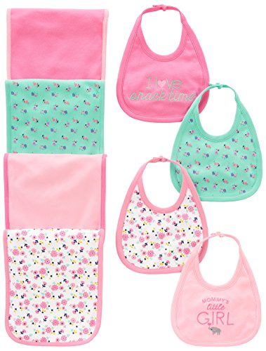 Baby Burp Cloth Set (Simple Joys by Carter's Baby Girls' 8-Pack Burp Cloth and Bib Set, Floral/Elephant, One Size)