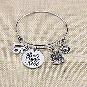 Awegift Birthday Gifts for Women 13th 16th 18th 21st 30 40 50 60 65 70 Fabulous Live Laugh Love Cake Charms Expandable Bracelet Gift Jewelry for Her