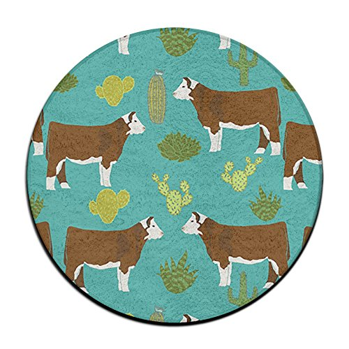 Waterproof Cow Dairy Farm Round Splash Splat Mat For Under High Chair Floor Protector Cover 23.6
