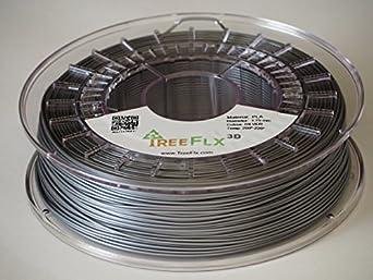 TreeFLX 3D Premium European PLA 3D Printer Filament, 750g Spool,-1.75mm- Silver Dimensional Accuracy +/- 0.03 mm