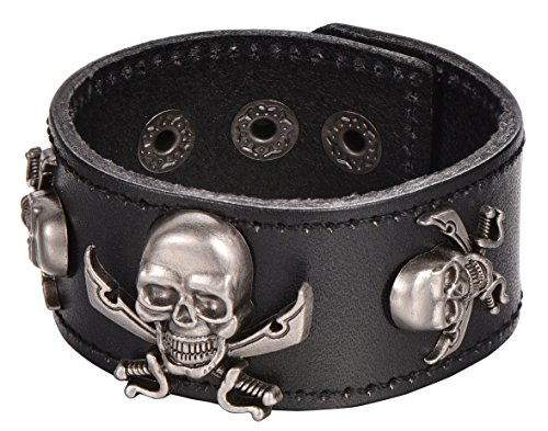 Regetta Jewelry Black Leather Cuff Bracelet with Pirate Skull Charms and Adjustable Snap Closure, 8.5