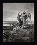 """Jacob Wrestling With The Angel by Gustave Dore - 21""""x26"""" Framed Giclee Canvas Art Print - Ready to Hang"""