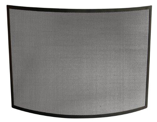 , S-1042, Single Panel Curved Black Wrought Iron Screen